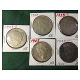 5- Silver Peace Dollars