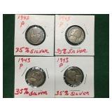 4- 1943 Jefferson Nickels, 35% Silver