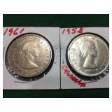 2- Canadian Silver Dollars