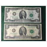 2013 and 1976 $2 Bills