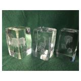3- Laser Etched Glass Paperweights