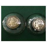 2- Morgan Silver Dollar Paperweights