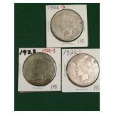 3- Silver Peace Dollars