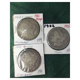 3- Silver Morgan Dollars