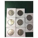 8- Silver Franklin Half Dollars