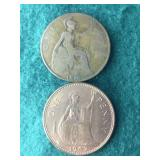 2 Large Foreign Cents