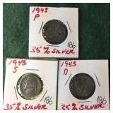 3- Silver War Nickels