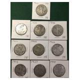 10- Silver Walking Liberty Half Dollars