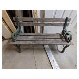 Small Wooden Wrought Iron Bench