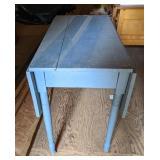 Blue Wooden Drop Leaf Table