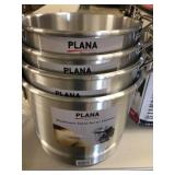 Set of FOUR aluminum Stock pots w/ steamers