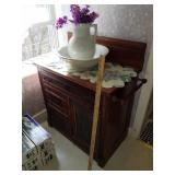 Wooden Dresser, Pitcher and Wash Basin