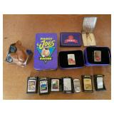 Assorted Lighters and Tobacco Decor
