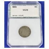 1885 Liberty Head Nickel VG-10 PCI