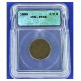 1855 Half Cent EF-45 ICG