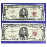 US $5 1963 Series Red Seal Notes