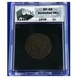 1838 Coronet Large Cent EF-45 UGS