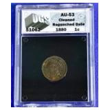1880 Indian Head Cent AU-53 UGS