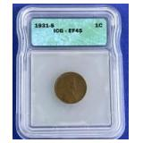 1931-S Lincoln Cent EF-45 ICG