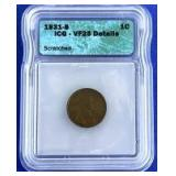 1931-S Lincoln Cent VF-25 ICG