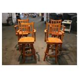 Four Solid Wood Barstools