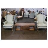 Two Upholstered Chairs and Coffee Table
