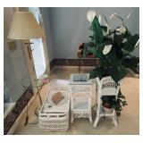 Wicker Set & Floor Lamp w/ Glass Table