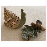 Pottery Snail & Bird Decor