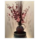 Ceramic Jug w/ Flowers & Bowl