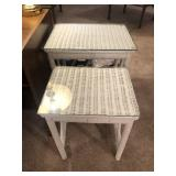 2 White Wicker Nesting Tables
