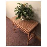 Wicker Table, Ceramic Pot, Faux Plants