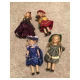 4 Miniature Composite Dolls