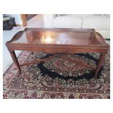 Carved Coffee Table w/Glass Top
