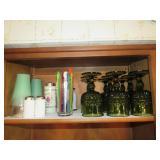 (9) Goblets, Stir Stix Glasses, S&P Shakers