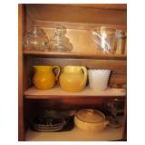 Contents of Cabinet:  Stoneware Pitchers,