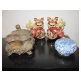(2) Foo Dogs, Wooden Lidded Box &