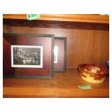 Framed Prints- Wooden Bowl- Misc Pottery Vases