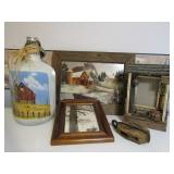 Painted Jug And Framed Print And Painting