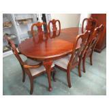"Mahogany Table w/ 6 Chairs. 30""T x 42"" x 64"" &"