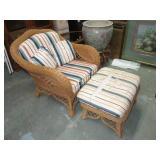 "Wicker Chair & Ottoman. Cushions Have Wear. 34""T"