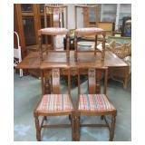 "Oak Draw Leaf Pub Table & 4 Chairs 31""T x 36"", Up"