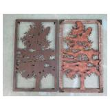 """2 Wood & Metal Tree Décor. Both Approx. 24"""" x 14"""""""