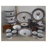 49pc Set of Dinnerware w/ Roosters. A Few Chips