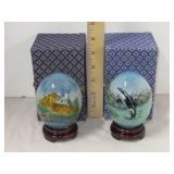 2 Oriental Reverse Painted Glass Eggs