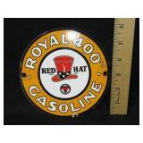 Porcelain Red Hat Gasoline Sign