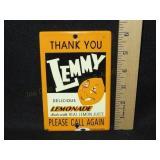 Porcelain Lemmy Lemonade Sign. Couple Minor Chips
