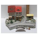 Hummel Cottages w/ 3 Figurines & Dealer Sign