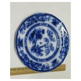 Victorian Flow Blue Plate. Small Rim Chip