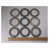 Set of 9 Sterling & Crystal Coasters. One Has