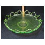 Vaseline Glass Open Lace Bowl